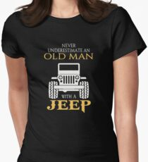 Never underestimate an old man with a jeep Women's Fitted T-Shirt