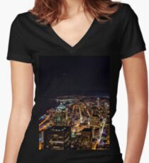 Seattle By Night Women's Fitted V-Neck T-Shirt