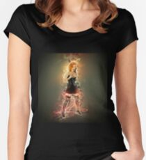showgirl in lingerie and stockings  Women's Fitted Scoop T-Shirt