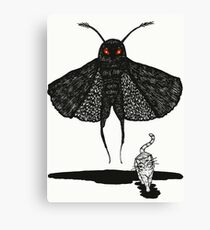 Mothman and a Cat Canvas Print