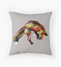 Jumping Red Fox Throw Pillow