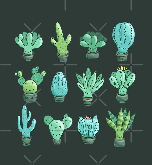 Cute cactus and succulents by Anna Alekseeva