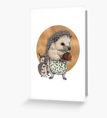 Yuletide Hedgehog & Hoglets Greeting Card