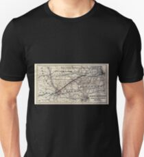 0230 Railroad Maps Map of the Chicago and Southwestern Railway and the Chicago Rock Island Pacific Railroad and their T-Shirt