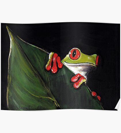 Midnight Mischief  -  Original Painting Red-Eyed Tree Frog Poster