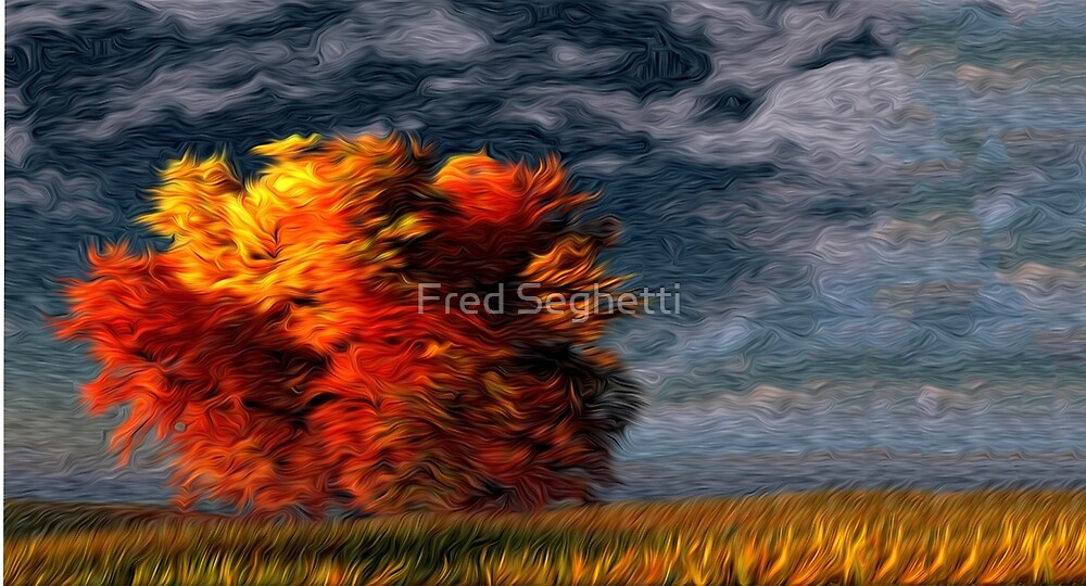 Twilight Fall Tree Oil Painting by Fred Seghetti