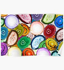 Colorful mosaic made of backlit agate stones Poster