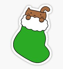 Green Stocking and Fat Brown Cat Sticker