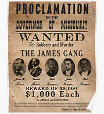 James Gang Wanted Poster Poster