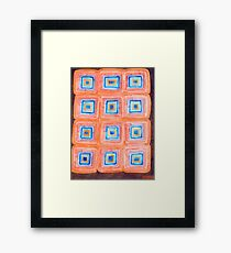 Twelve Red and Blue Melted Together Squares  Framed Print