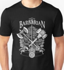 RPG Class Series: Barbarian - White Version T-Shirt