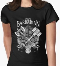 RPG Class Series: Barbarian - White Version Women's Fitted T-Shirt