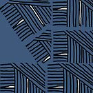 Line pattern black and blue gray by HEVIFineart