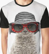 Elegant cat wearing floppy hat and sunglasses Graphic T-Shirt