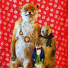 FAMILY PHOTO OF TAXIDERMY FOX, SQUIRREL, COATIMUNDI BY ADELE MORSE by ADELE MORSE