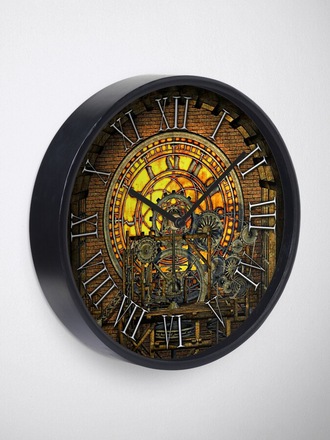 Alternate view of Vintage Steampunk Clock No.7, Steampunk Clock Tower Inner Workings Clock
