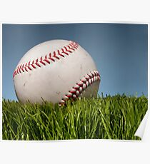 Baseball on grass. Poster