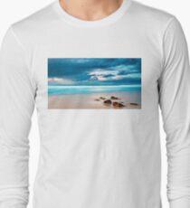 Beach Cloud Rocks Oil Painting T-Shirt