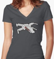 X-wing in bricks Women's Fitted V-Neck T-Shirt