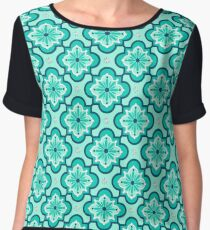 Moroccan Tile Pattern, Aqua and Turquoise Chiffon Top