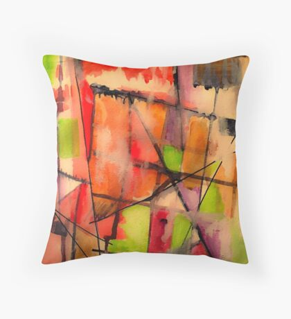 Lines and Color: Abstract Studio Throw Pillow