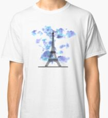 Paris Eiffel Tower Skyline Watercolor Sky Classic T-Shirt