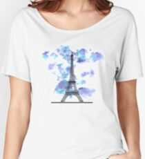 Paris Eiffel Tower Skyline Watercolor Sky Women's Relaxed Fit T-Shirt