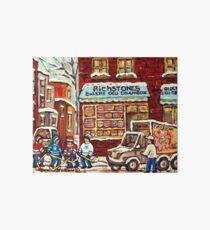 BOULANGERIE RICHSTONE MONTREAL VINTAGE BAKERY WINTER HOCKEY SCENE Art Board