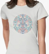 Botanical Geometry - nature pattern in red, blue & cream Womens Fitted T-Shirt