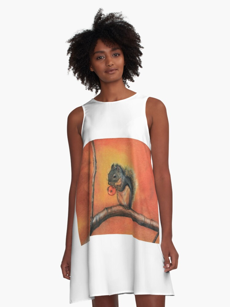 Little Red Squirrel  A-Line Dress Front