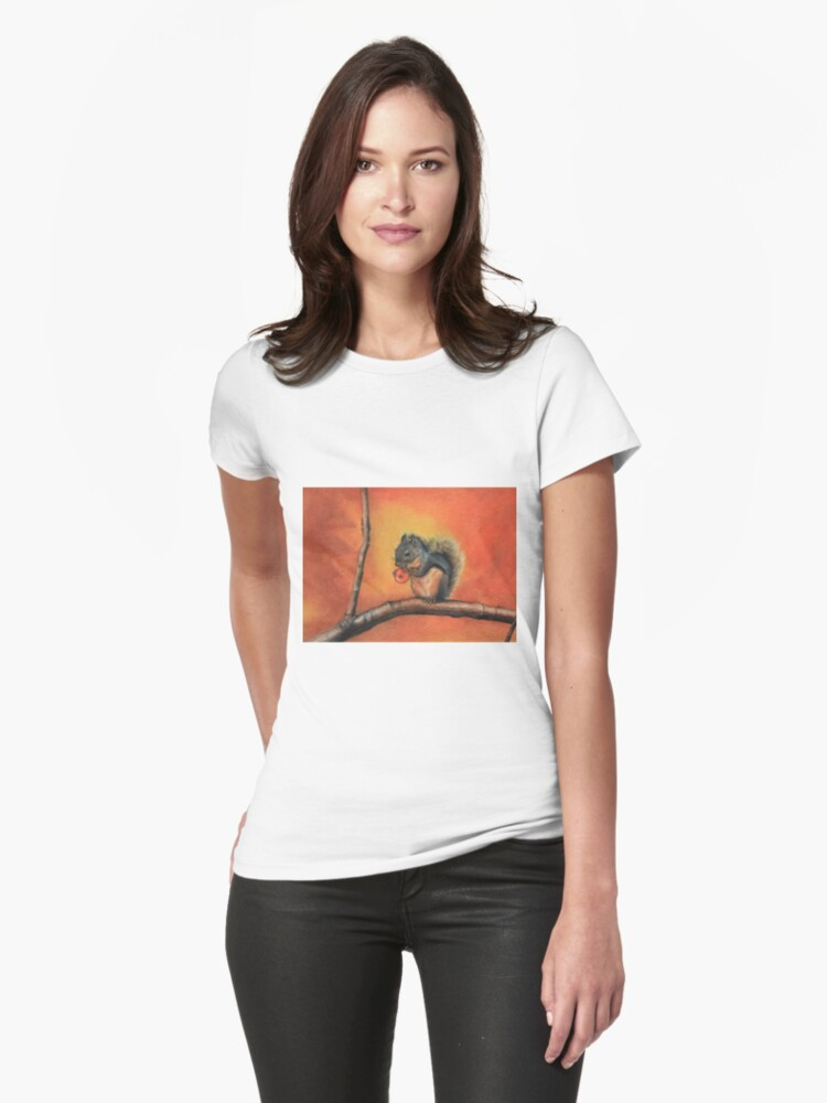 Little Red Squirrel  Womens T-Shirt Front