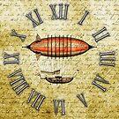 Vintage Steampunk Clock No.8, Elegant Vintage Steampunk Airship by Steve Crompton