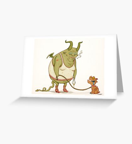 A demon and his dog... Greeting Card