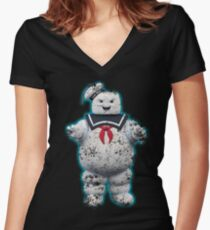 Vintage Stay Puft Marshmallow Man Women's Fitted V-Neck T-Shirt
