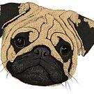Mops Gesicht (Pug) von Lana Petersen