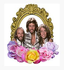 Bee Gees framed with flowers Photographic Print