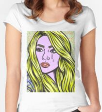 Pop Art Blonde Crying Comic Girl Women's Fitted Scoop T-Shirt