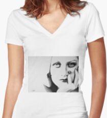 Joan Crawford Minimal Portrait Women's Fitted V-Neck T-Shirt