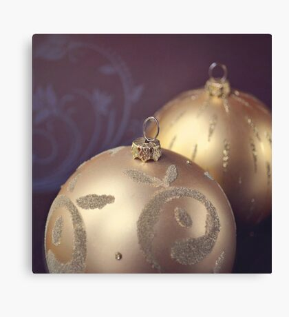 Gold ornate Christmas baubles Canvas Print