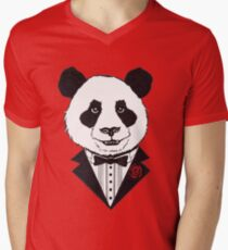 Dapper Panda Mens V-Neck T-Shirt