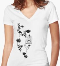 songbird tee  Women's Fitted V-Neck T-Shirt