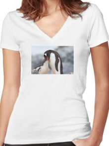 """Gentoo Penguin and Chick ~ """"Meals Home Delivered"""" Women's Fitted V-Neck T-Shirt"""