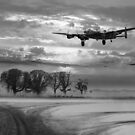 Morning return: Lancasters at sunrise B&W version by Gary Eason