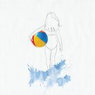Dreamy Drawing girl on beach with ball by StudioRenate