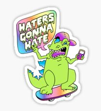 """Haters Gonna Hate"" Reptar (white) Sticker"