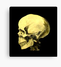Profile Skull Charcoal Drawing Canvas Print