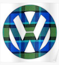 Blue Green Plaid Vintage Volkswagen Westfalia Bus Pattern Poster