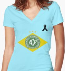 Pray For Chapecoense Women's Fitted V-Neck T-Shirt