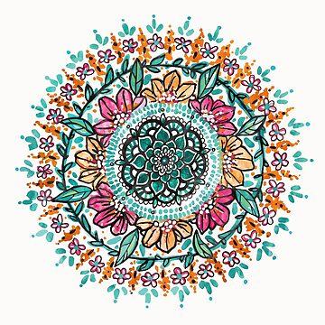 Floral Watercolor Mandala by aterkaderk