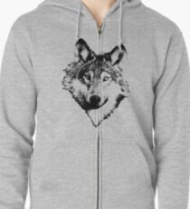 Wise Wolf Face. Animal Prints. Digital Wildlife Engravings. Zipped Hoodie